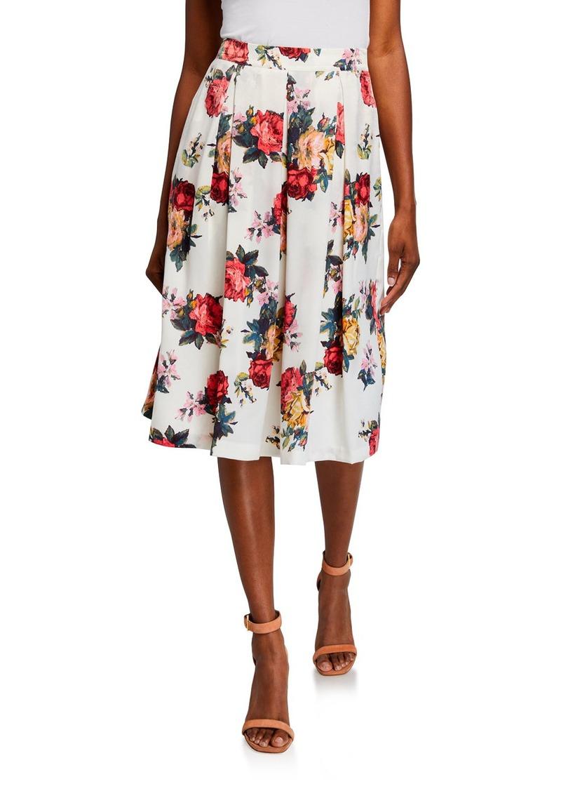 Tahari Floral Pleated Midi Skirt