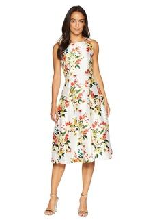 Tahari Floral Print Cocktail Midi Dress