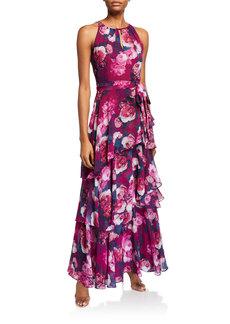 Tahari Floral-Print Halter Chiffon Dress