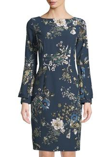 Tahari Floral Print Layered-Sleeve Sheath Dress
