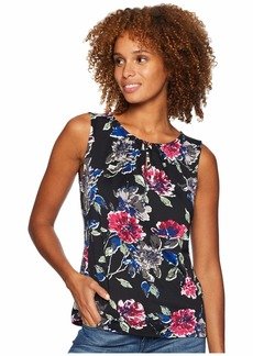 Tahari Floral Printed Matte Jersey Top with Keyhole Neckline
