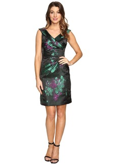 Tahari Floral Printed Satin Portrait Collar Sheath with Side Ruche