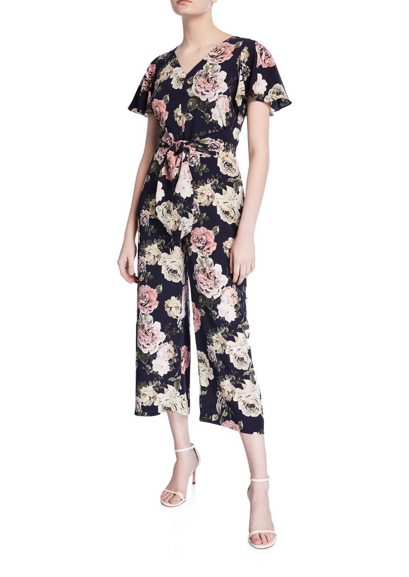 Tahari Floral Short-Sleeve Tie-Waist Cropped Jumpsuit