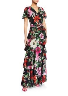 Tahari Floral Tiered Chiffon Dress