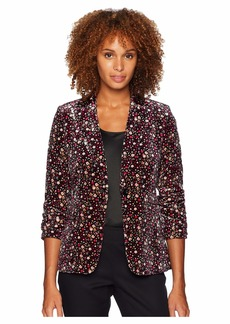 Tahari Floral Velvet One-Button Jacket
