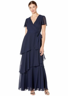 Tahari Flutter Sleeve Chiffon Maxi Dress with Tiered Skirt