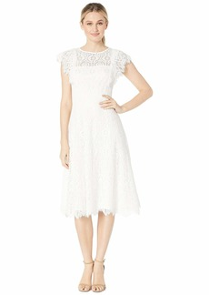 Tahari Flutter Sleeve Lace Dress