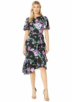 Tahari Flutter Sleeve Printed Chiffon Tiered Floral Dress
