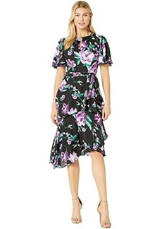 Tahari Flutter Sleeve Printed Chiffon Tiered Floral Dress