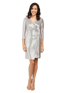 Tahari Foil Knit Side Knot Dress