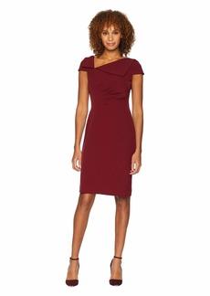 Tahari Fold-Over Collar Crepe Short Sleeve Crepe Dress