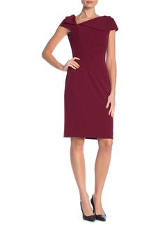 Tahari Foldover Neck Sheath Dress