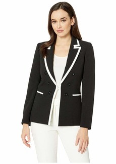 Tahari Framed Faux Double Breasted Crepe Jacket