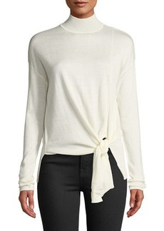 Tahari Front-Tie Knit Turtleneck