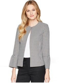 Gingham Textured Jacket with Tulip Sleeve