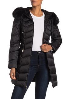 Tahari Grace Faux Fur Hooded Puffer Jacket