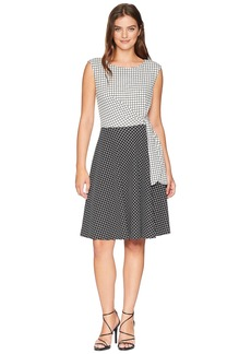 Tahari Grid Pattern Side Tie Dress