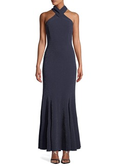 Tahari Halter-Neck Metallic Gown with Rhinestone Embellishments