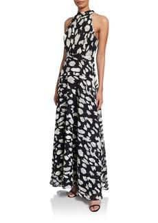 Tahari Halter-Neck Printed Maxi Gown