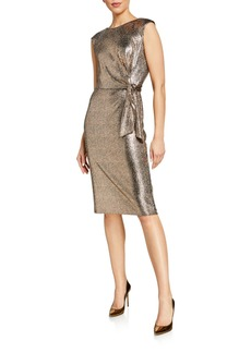 Tahari Hammered Sequin Side Tie Dress
