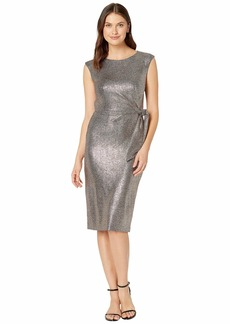 Tahari Hammered Stretch Metallic Side Tie Dress