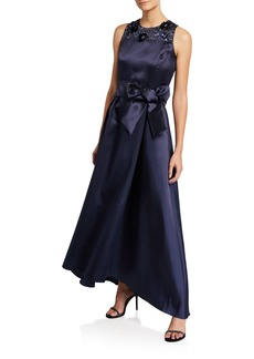 Tahari High-Low Gown With Beaded Top