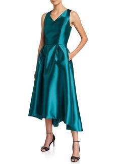 Tahari High-Low V-Neck Cocktail Dress