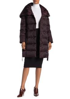 Tahari Hooded Belted Waist Puffer Jacket