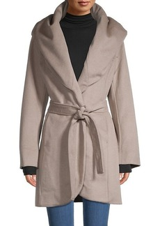 Tahari Hooded Wool-Blend Coat