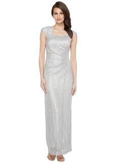 Tahari Horseshoe Neck Lace Gown