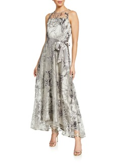 Tahari Illusion Neck Floral Embroidered Gown