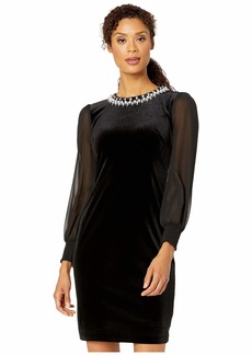 Tahari Illusion Sleeve Velvet Cocktail Dress with Pearl Necklace Embellishment Detail