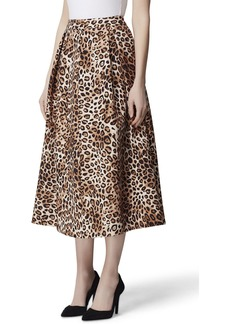 Tahari Inverted-Pleat Leopard-Print Skirt