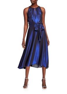 Tahari Iridescent Chiffon Halter Cocktail Dress