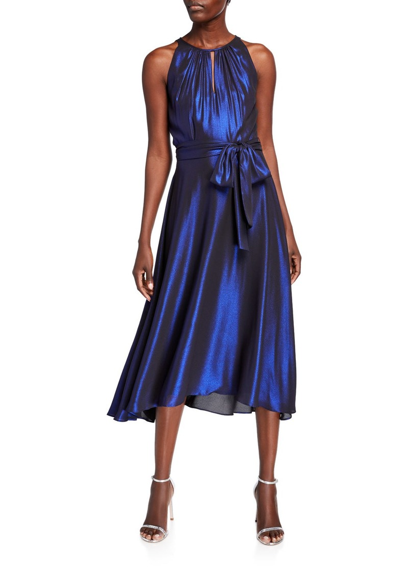 Tahari Iridescent Chiffon Halter Cocktail Dress
