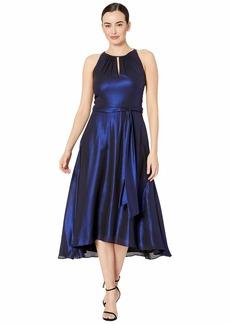 Tahari Iridescent Chiffon Sleeveless Midi High-Low Hem Halter Dress