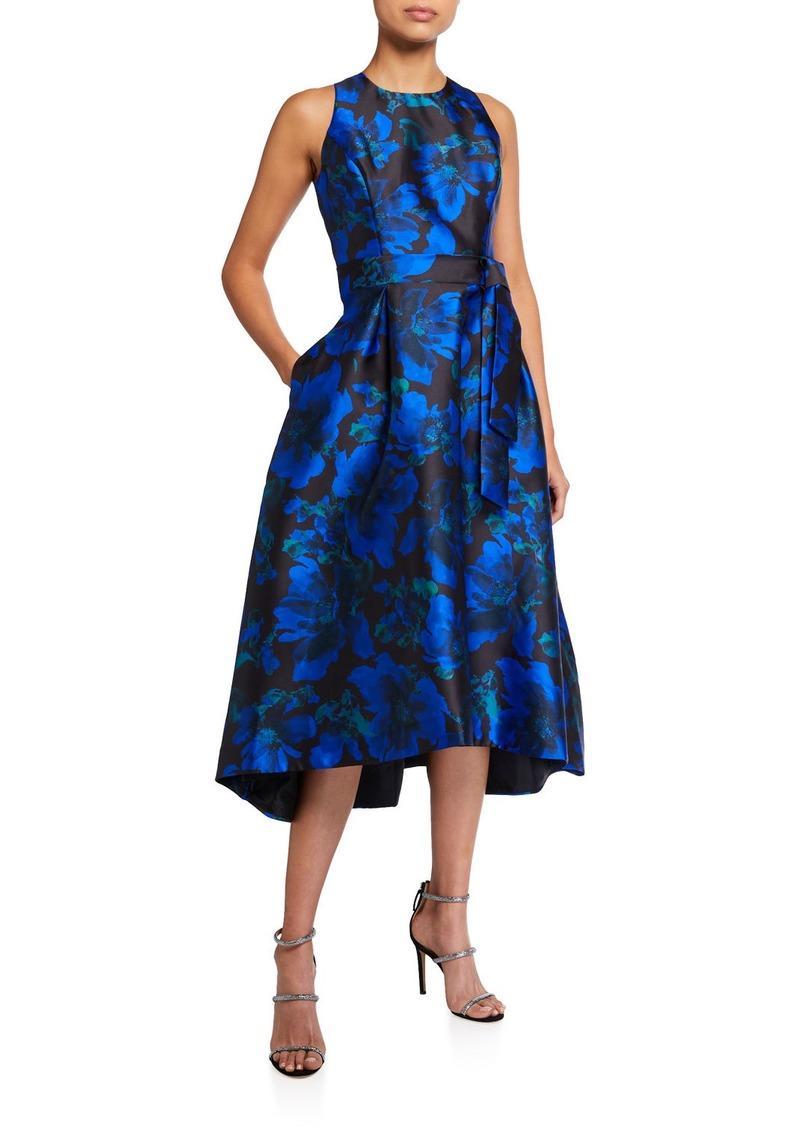 Tahari Jacquard High-Low Dress