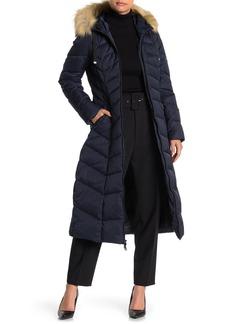 Tahari Jacqueline Faux Fur Trim Hooded Down Puffer Jacket