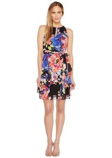 Tahari Keyhole Floral Chiffon Dress