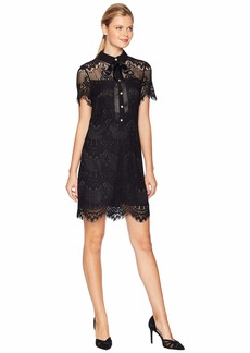 Tahari Lace Button From A-Line Dress with Illusion Detail