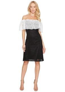 Tahari Lace Combo Cold Shoulder Dress