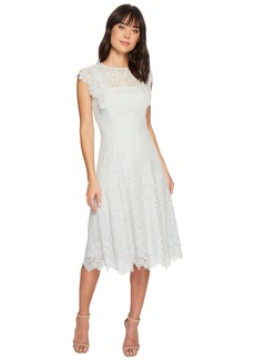 Tahari Lace Flutter Sleeve Midi Dress