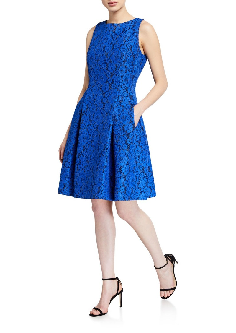 Tahari Lace Sleeveless Fit-&-Flare Dress