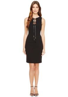 Tahari Lace-Up Sleeveless Sheath Dress