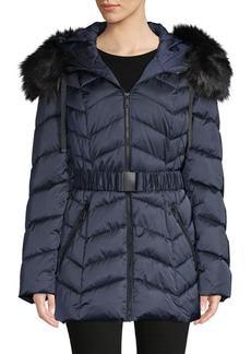Tahari Leon Belted Faux Fur-Trim Puffer Jacker