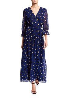 Tahari Leopard-Print Faux Wrap Maxi Dress