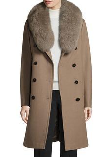 Tahari Long Double-Breasted Pea Coat w/ Fox Fur Collar  Musk