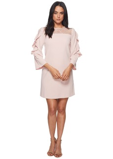 Tahari Long Ruffle Sleeve Crepe/Lace Sheath with Illusion Neckline