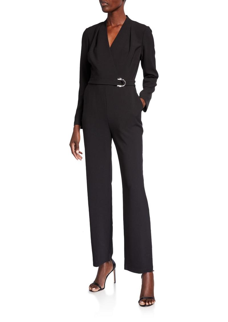 Tahari Long-Sleeve Belted Jumpsuit