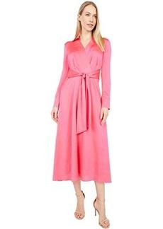 Tahari Long Sleeve Charmeuse Faux Wrap Dress